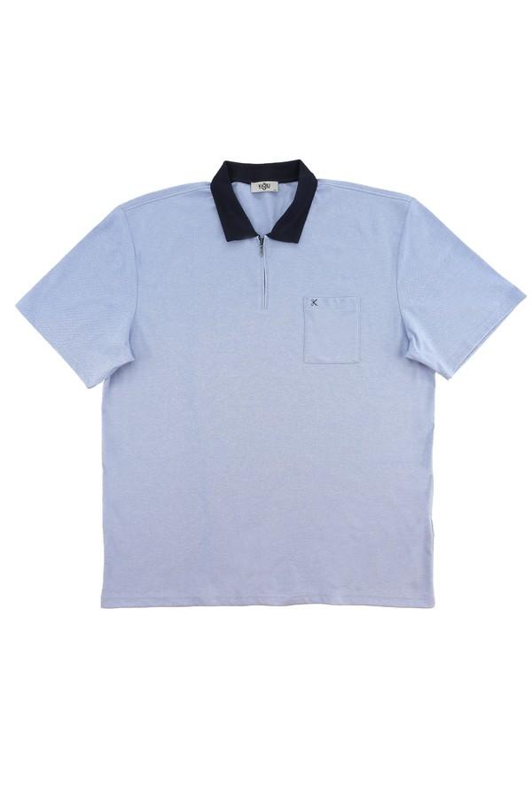 King Size Polo Yaka Regular Fit Fermuarlı Tişört