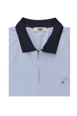 Erkek Giyim - MAVİ 6X Beden King Size Polo Yaka Regular Fit Fermuarlı Tişört