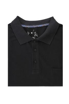 Erkek Giyim - SİYAH 5X Beden King Size Polo Yaka Regular Fit Tişört