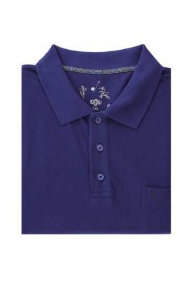 Erkek Giyim - SAKS MAVİ 6X Beden King Size Polo Yaka Regular Fit Tişört