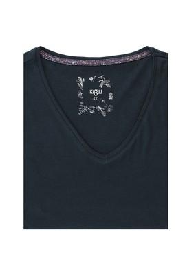 Erkek Giyim - PETROL YEŞİLİ 5X Beden Büyük Beden V Yaka Tişört