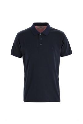Erkek Giyim - SİYAH XL Beden Polo Yaka Slim Fit Desenli Tişört