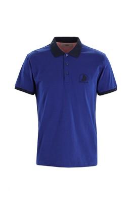 Erkek Giyim - SU MAVİSİ L Beden Polo Yaka Slim Fit Desenli Tişört