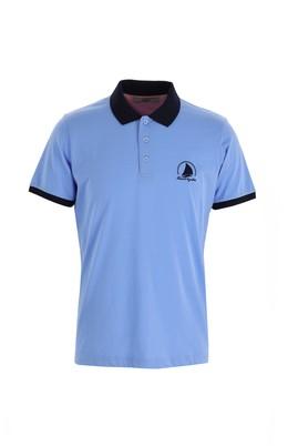 Erkek Giyim - MAVİ 3X Beden Polo Yaka Slim Fit Desenli Tişört