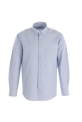 Erkek Giyim - ORTA LACİVERT 3X Beden Uzun Kol Regular Fit Kareli Gömlek