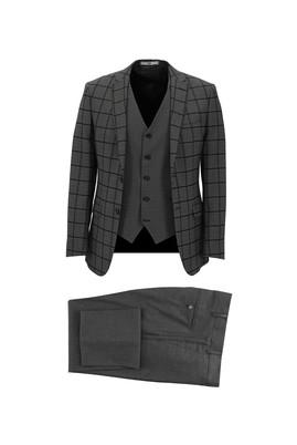 Erkek Giyim - SİYAH 50 Beden Super Slim Fit Yelekli Kombinli Kareli Takım Elbise