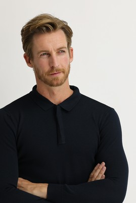 Erkek Giyim - AÇIK LACİVERT M Beden Polo Yaka Regular Fit Triko Kazak