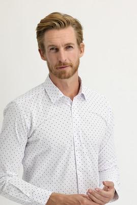 Erkek Giyim - BEYAZ L Beden Uzun Kol Regular Fit Baskılı Gömlek