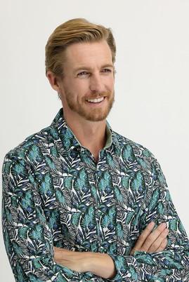 Erkek Giyim - ORMAN YEŞİLİ L Beden Uzun Kol Slim Fit Baskılı Gömlek
