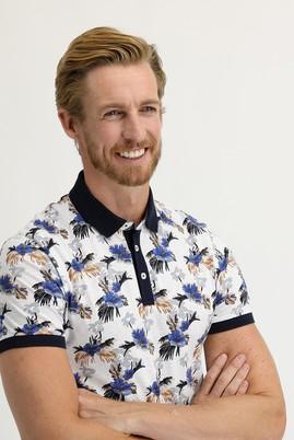 Erkek Giyim - BEYAZ M Beden Polo Yaka Süper Slim Fit Baskılı Tişört