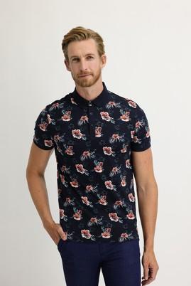 Erkek Giyim - ORTA LACİVERT M Beden Polo Yaka Süper Slim Fit Baskılı Tişört
