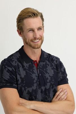Erkek Giyim - ORTA LACİVERT XL Beden Polo Yaka Regular Fit Baskılı Tişört