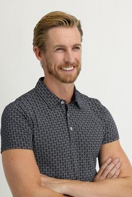 Erkek Giyim - ORTA LACİVERT XL Beden Polo Yaka Süper Slim Fit Baskılı Tişört