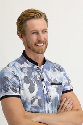 Erkek Giyim - MAVİ S Beden Düğmeli Yaka Slim Fit Baskılı Tişört