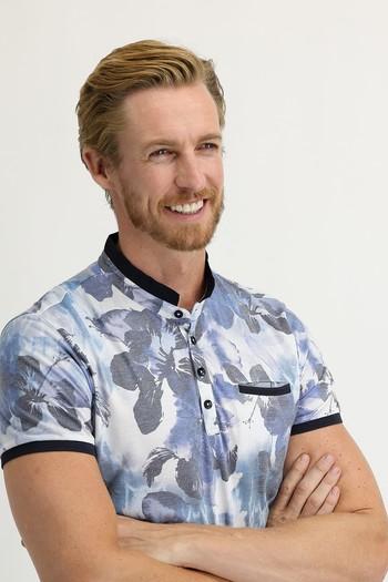 Erkek Giyim - Düğmeli Yaka Slim Fit Baskılı Tişört