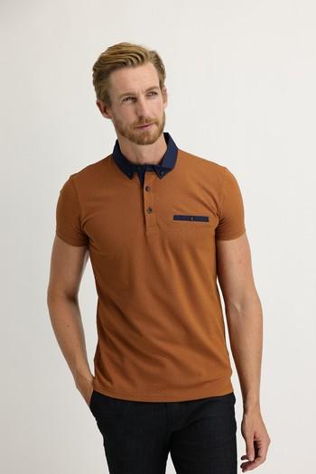 Erkek Giyim - Polo Yaka Baskılı Slim Fit Tişört