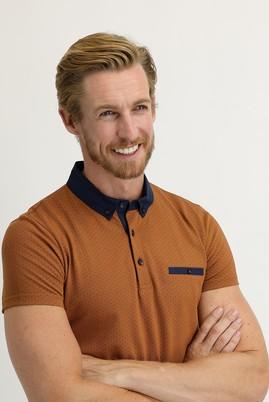 Erkek Giyim - CAMEL M Beden Polo Yaka Baskılı Slim Fit Tişört