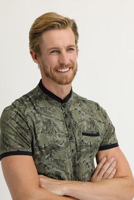 Erkek Giyim - ORTA HAKİ M Beden Slim Fit Düğmeli Yaka Baskılı Tişört
