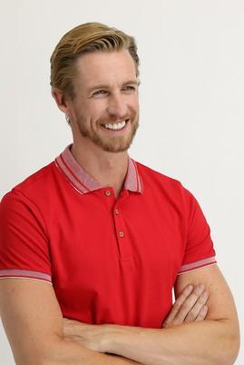 Erkek Giyim - AÇIK KIRMIZI XL Beden Polo Yaka Slim Fit Tişört