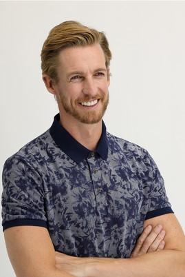Erkek Giyim - ORTA LACİVERT L Beden Polo Yaka Regular Fit Baskılı Tişört
