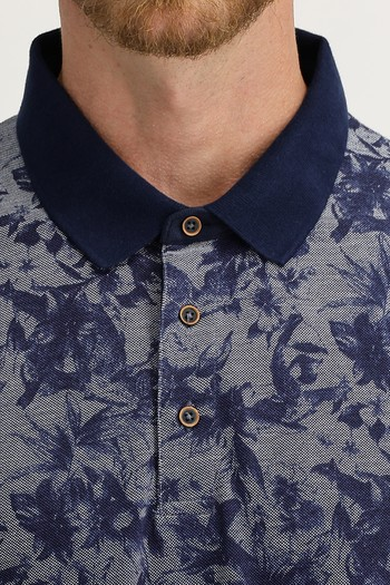 Erkek Giyim - Polo Yaka Regular Fit Baskılı Tişört