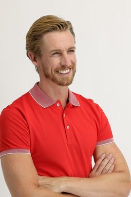 Erkek Giyim - AÇIK KIRMIZI L Beden Polo Yaka Slim Fit Tişört
