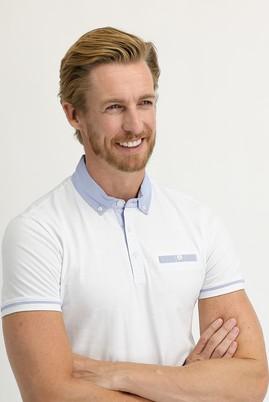 Erkek Giyim - BEYAZ M Beden Polo Yaka Slim Fit Tişört