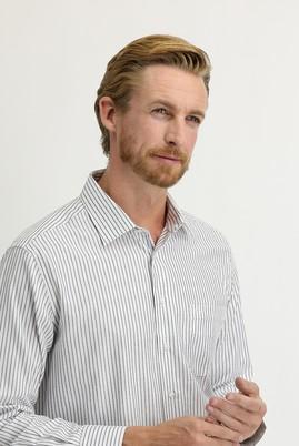 Erkek Giyim - SİYAH L Beden Uzun Kol Regular Fit Çizgili Gömlek