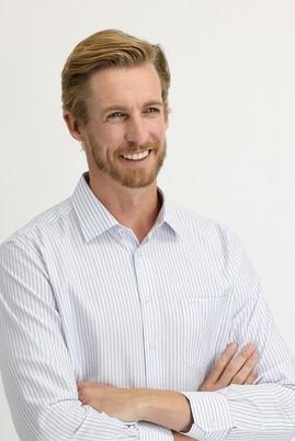 Erkek Giyim - UÇUK MAVİ XXL Beden Uzun Kol Regular Fit Çizgili Gömlek