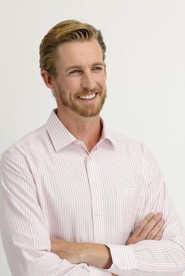 Erkek Giyim - TOZ PEMBE 3X Beden Uzun Kol Regular Fit Çizgili Gömlek