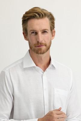 Erkek Giyim - BEYAZ 3X Beden Uzun Kol Regular Fit Desenli Spor Gömlek