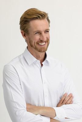Erkek Giyim - BEYAZ S Beden Uzun Kol Baskılı Slim Fit Gömlek