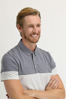 Erkek Giyim - ORTA GRİ MELANJ M Beden Polo Yaka Regular Fit Desenli Tişört