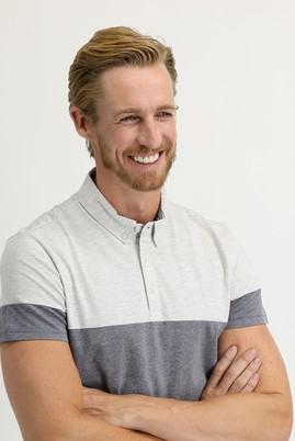 Erkek Giyim - ORTA ANTRASİT XL Beden Polo Yaka Regular Fit Desenli Tişört