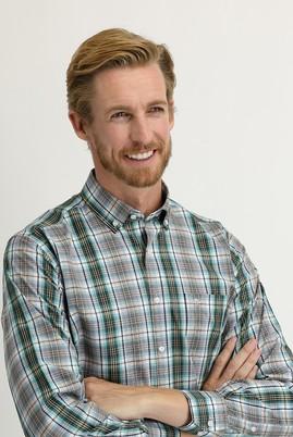Erkek Giyim - KOYU YEŞİL L Beden Uzun Kol Regular Fit Ekose Gömlek