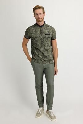 Erkek Giyim - ORTA HAKİ 54 Beden Desenli Beli Lastikli İpli Spor Pantolon