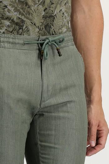 Erkek Giyim - Desenli Beli Lastikli İpli Spor Pantolon
