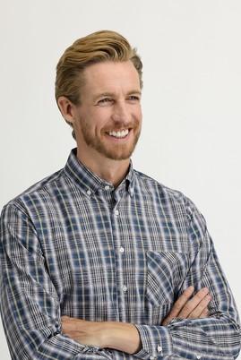 Erkek Giyim - KOYU BORDO 3X Beden Uzun Kol Regular Fit Ekose Gömlek