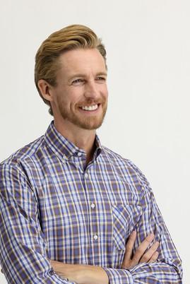 Erkek Giyim - ORTA KAHVE 4X Beden Uzun Kol Regular Fit Ekose Gömlek