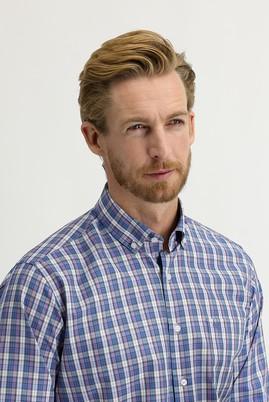 Erkek Giyim - MOR 3X Beden Uzun Kol Regular Fit Ekose Gömlek