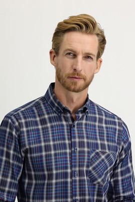 Erkek Giyim - MAVİ M Beden Uzun Kol Regular Fit Ekose Gömlek