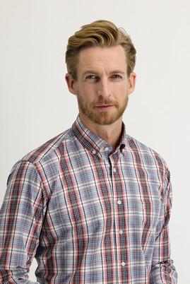 Erkek Giyim - AÇIK BORDO XXL Beden Uzun Kol Regular Fit Ekose Gömlek