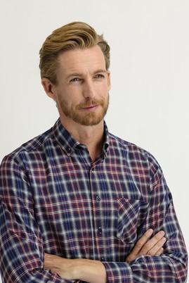Erkek Giyim - KOYU BORDO XXL Beden Uzun Kol Regular Fit Ekose Gömlek
