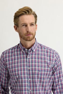 Erkek Giyim - PEMBE XL Beden Uzun Kol Regular Fit Ekose Gömlek