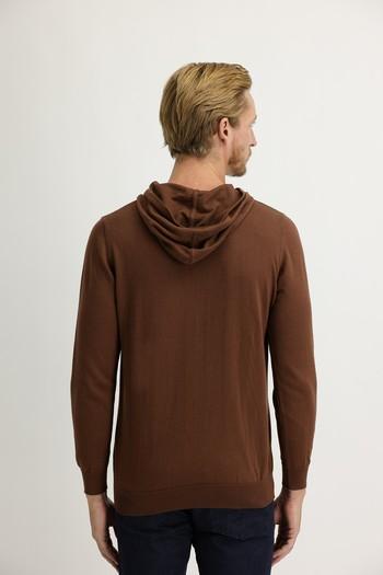 Erkek Giyim - Kapüşonlu Regular Fit Triko Kazak