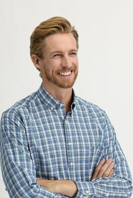 Erkek Giyim - KOYU YEŞİL 3X Beden Uzun Kol Regular Fit Ekose Gömlek