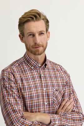 Erkek Giyim - KİREMİT M Beden Uzun Kol Regular Fit Ekose Gömlek