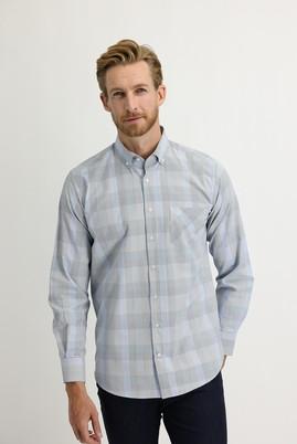 Erkek Giyim - MAVİ XXL Beden Uzun Kol Regular Fit Ekose Gömlek