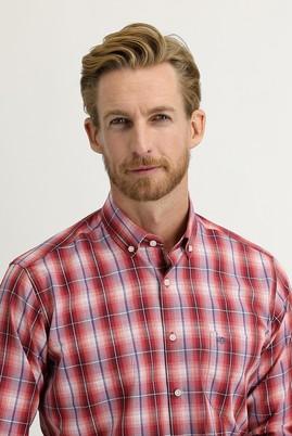 Erkek Giyim - KOYU KIRMIZI XL Beden Uzun Kol Regular Fit Ekose Gömlek