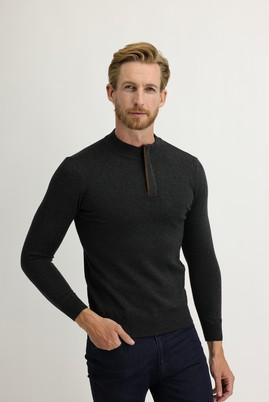 Erkek Giyim - KOYU ANTRASİT M Beden Bato Yaka Regular Fit Triko Kazak